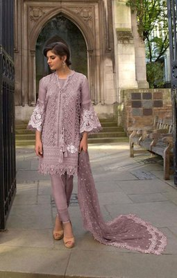 Light-purple embroidered net salwar