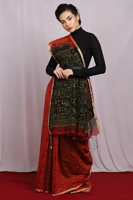 red Egyptian Print Handloom Saree with blouse