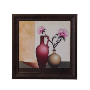 Floral Pot Satin Matt Texture UV Art Painting