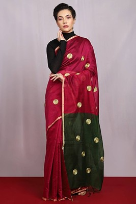 magenta Embroidered Polished Poise Saree with blouse
