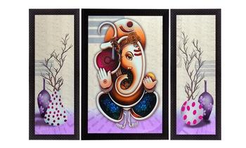 Set Of 3 Ganesha Satin Matt Texture UV Art Painting