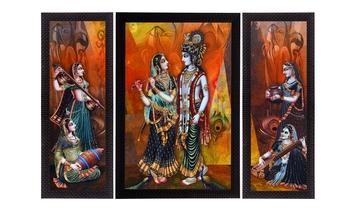 Set Of 3 Musical Radha With Krishna Satin Matt Texture UV Art Painting