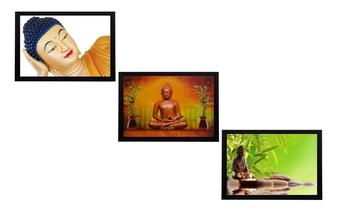 Set Of 3 Forms Of Lord Buddha Satin Matt Texture UV Art Painting