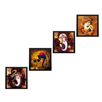 Set Of 4 Lord Ganesha Satin Matt Texture UV Art Painting