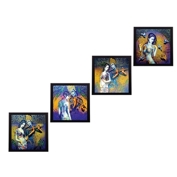 Set Of 4 Abstract Radha Krishna Satin Matt Texture UV Art Painting