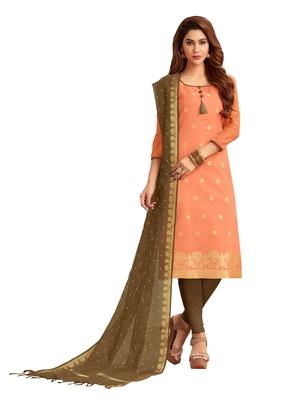 Peach & Mhendi green Banarasi Cotton Dress Material Having Banarasi Dupatta With Tassels
