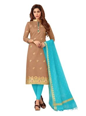 Brown & Sky Blue Banarasi Cotton Dress Material Having Banarasi Dupatta With Tassels