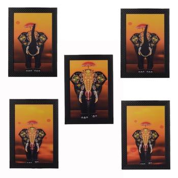 Set of 5 Elephant Variants Satin Matt Texture UV Art Painting