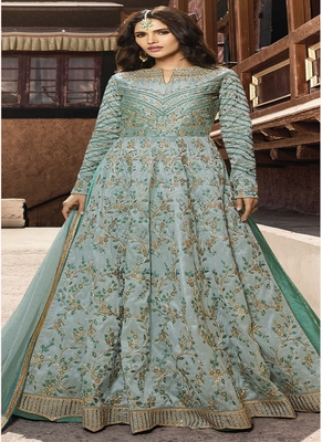 Light-turquoise embroidered silk salwar