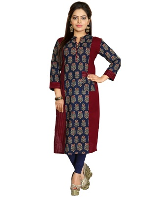 Brown Stylish Cotton Printed Kurti