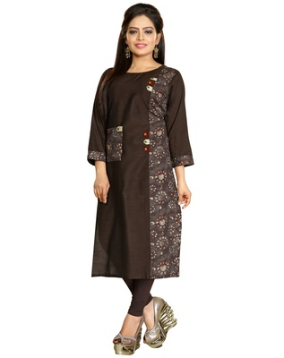 Brown Stylish Embroidery Silk Kurti