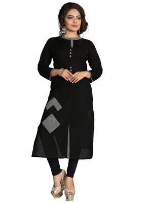 Black Stylish Cotton Printed Kurti