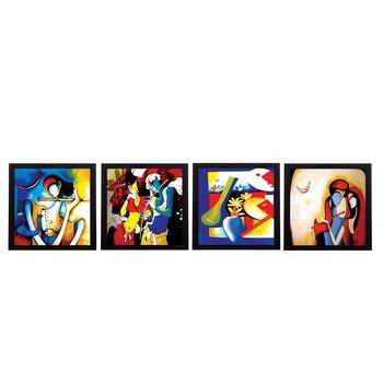Set Of 4 Abstract Radha Krishna Satin Matt Texture UV Art Painting