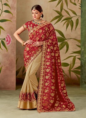 Crimson embroidered silk blend saree with blouse