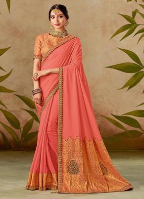 dark peach embroidered silk blend saree with blouse