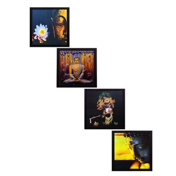 Set Of 4 Krishna and Buddha Satin Matt Texture UV Art Painting