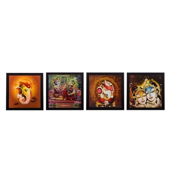 Set Of 4 Radha Krishna and Ganesha Satin Matt Texture UV Art Painting