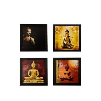 Set Of 4 Lord Buddha Satin Matt Texture UV Art Painting