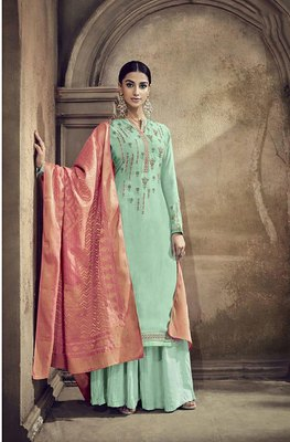 Light-green embroidered viscose salwar