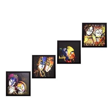 Set Of 4 Radha Krishna Satin Matt Texture UV Art Painting