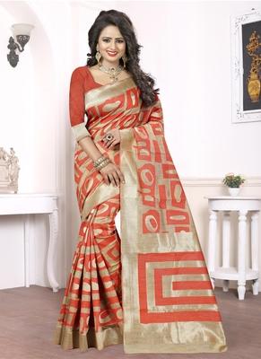 Rust woven pure kanjivaram silk saree with blouse