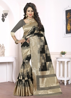Black woven pure kanjivaram silk saree with blouse