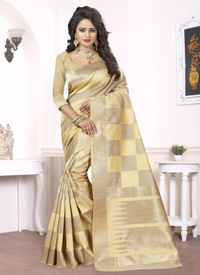 Beige woven pure kanjivaram silk saree with blouse