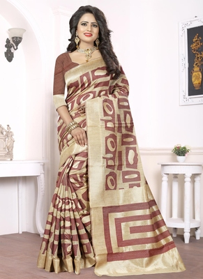 Brown woven pure kanjivaram silk saree with blouse