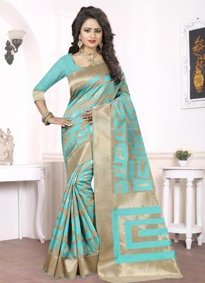 Sky blue woven pure kanjivaram silk saree with blouse