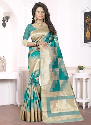 Teal woven pure kanjivaram silk saree with blouse