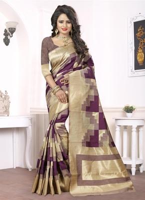 Wine woven pure kanjivaram silk saree with blouse