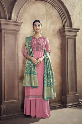 Pink embroidered viscose salwar