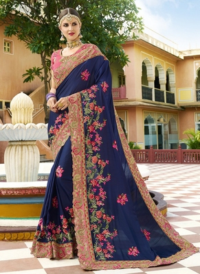 Navy blue embroidered silk saree with blouse