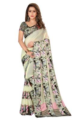 Multicolor plain satin saree with blouse