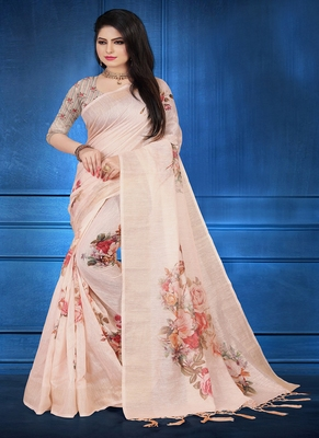 Beige printed linen saree with blouse