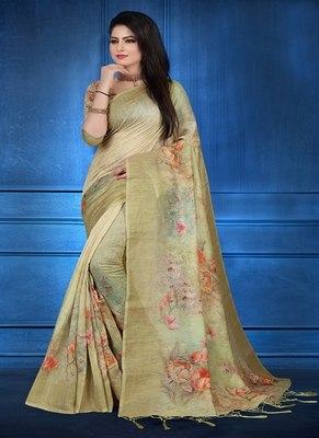Olive printed linen saree with blouse