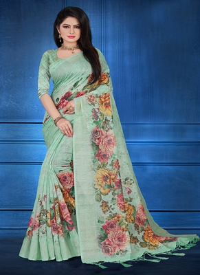 aqua blue printed linen saree with blouse