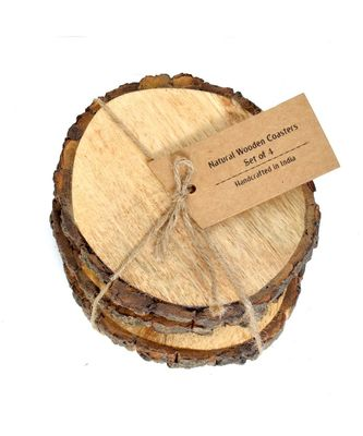 Large Natural Mango Tree Bark Wooden Coasters