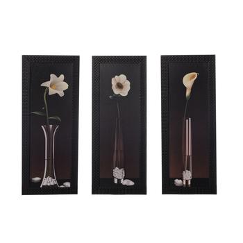 Set of 3 Floral Satin Matt Texture UV Art Painting