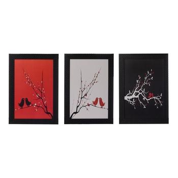 Set of 3 Abstract Tree View Satin Matt Texture UV Art Painting