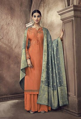 Orange embroidered viscose salwar