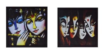 Set of 2 Radha Krishna Satin Matt Texture UV Art Painting