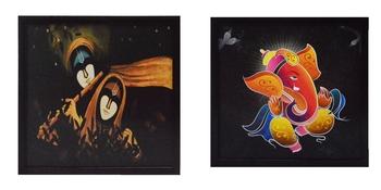 Set of Lord Ganesha and Radha Krishna Satin Matt Texture UV Art Painting