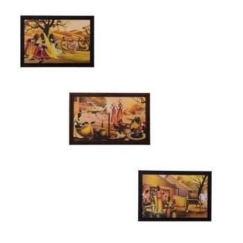 Set of 3 Village Scene Satin Matt Texture UV Art Painting