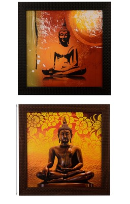 Set of 2 Meditating Buddha Satin Matt Texture UV Art Painting