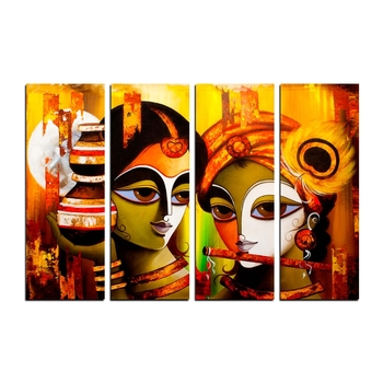 4 Panel Radha Krishna Premium Canvas Painting