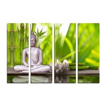 4 Panel Meditating Buddha Premium Canvas Painting