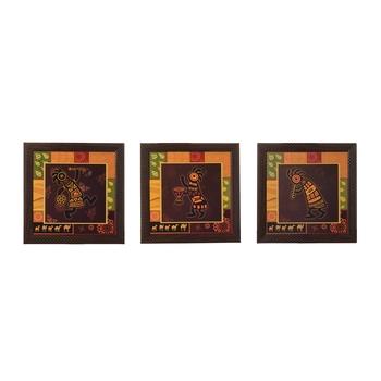 Set of 3 Tribal Lady Satin Matt Texture UV Art Painting