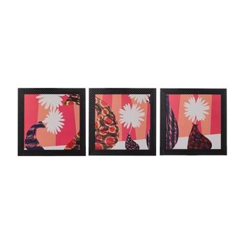 Set of 3 Abstract Pots Satin Matt Texture UV Art Painting