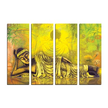 4 Panel Resting Buddha Premium Canvas Painting